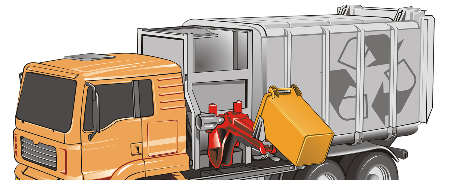 Cartoon image of a garbage or recycling truck collecting material