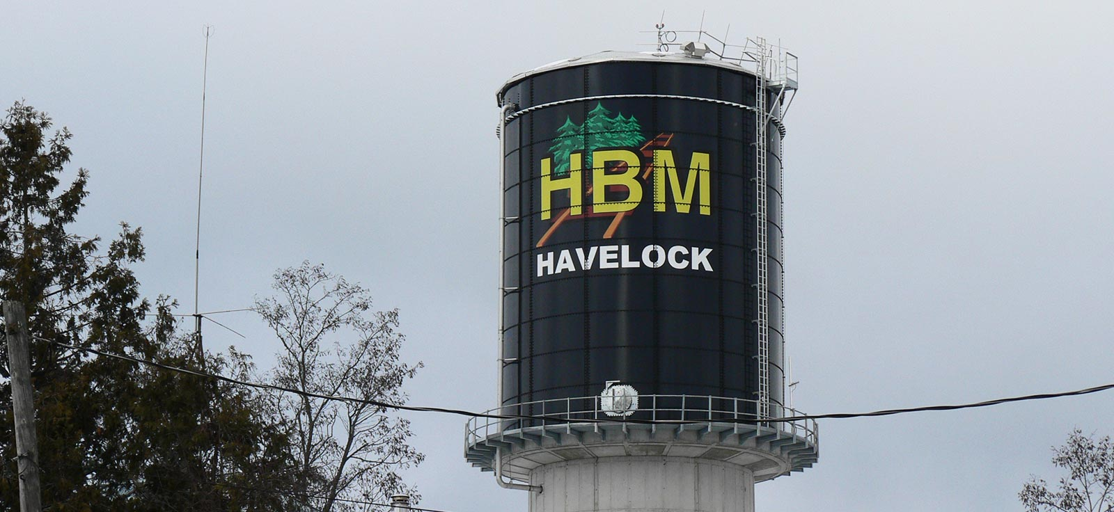View of Havelock's elevated water storage tank