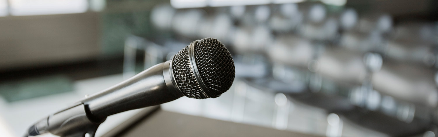picture of a microphone at a podium